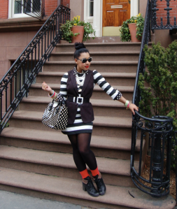 outfit blogger stripes pattern mixing black and white spring trends spring 2013 trends fashion trends 2013 stripe coat stripe dress pop of color outfit black and white stripes on stripes